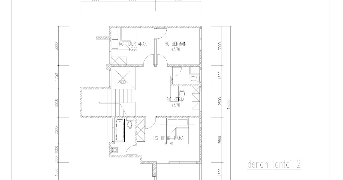 desain rumah contoh gambar denah rumah dua lantai