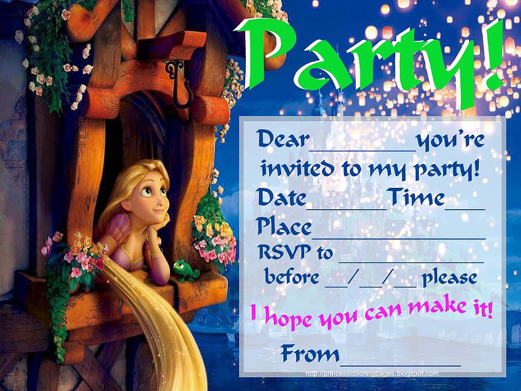 40th Birthday Ideas Free Rapunzel Birthday Invitation Templates