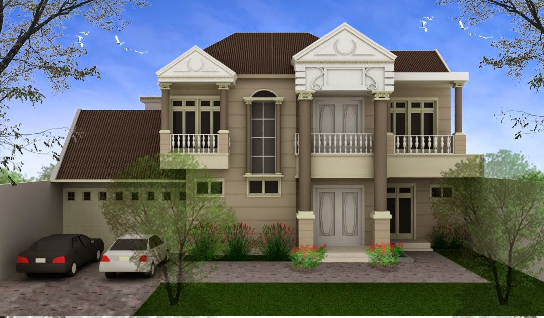 Gambar Rumah Klasik Desain Minimalis 2 Lantai Bertingkat