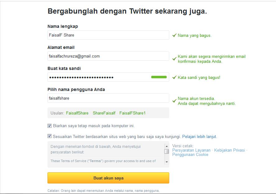 contoh pengisian form twitter
