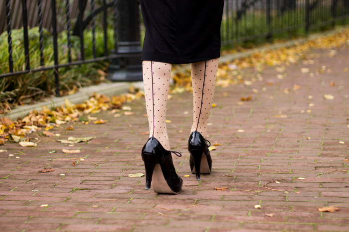 Polka dot seam tights vintage style outfit