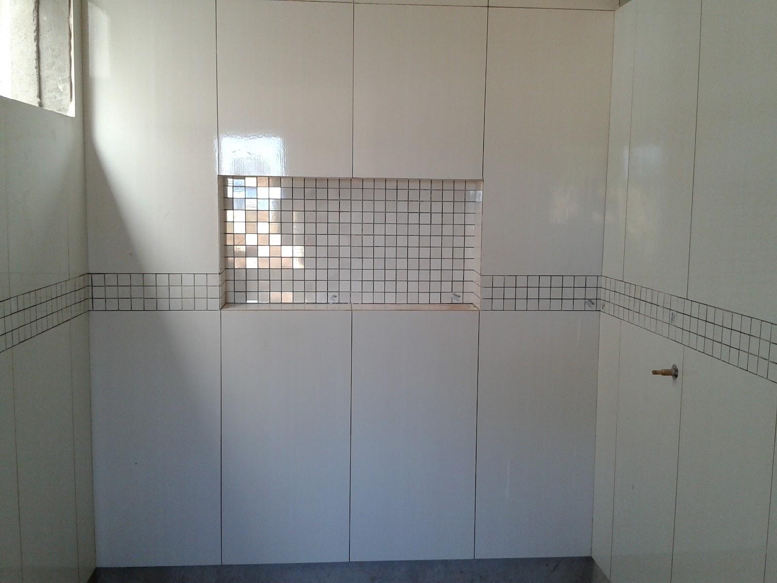 #3F4A5C Banheiro com as pastilhas colocadas olhem meu nicho! Adorei! 1600x1200 px Banheiro Nicho Pastilhas 2731