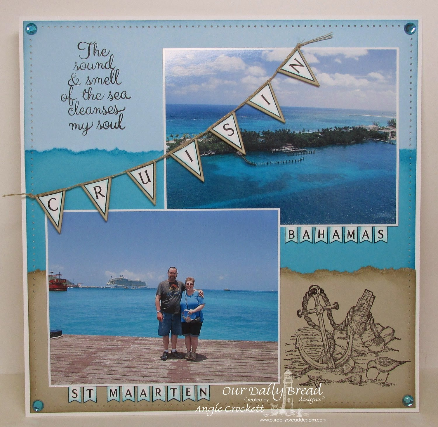 ODBD Life is Better, Anchor the Soul, Pennant Swag Alphabet, Pennant Alphabet, ODBD Custom Pennants Die Set, Scrapbook Layout Designer Angie Crockett
