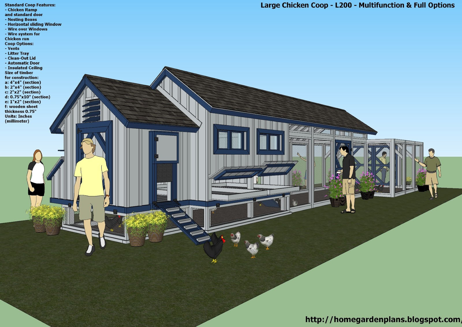 Home garden plans l200 large chicken coop plans how for Large chicken house