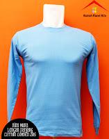 Jual Kaos Polos Lengan Panjang biru muda