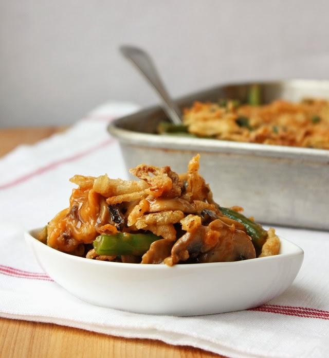 Green Been Casserole Recipe, Fancy Green Bean Casserole, Morel Mushrooms, Thanksgiving, Vegetarian