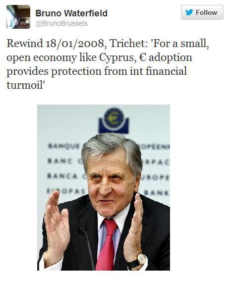 Ας θυμηθούμε τι έλεγε ο Τρισέ το 2008 για την ένταξη της Κύπρου στο ευρώ…