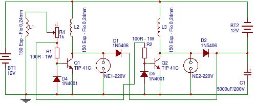 Circuito Motor Bedini : Foco eletrônico esquema do gerador de pulsos