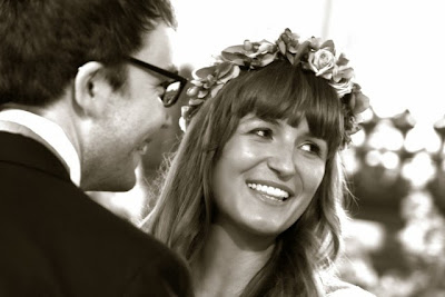 Real vintage bride 'Olivia', c Heavenly Vintage Brides - b&w close-up of Olivia and Nick