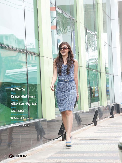 Model Nan Thu Zar in Stylish Office Dress
