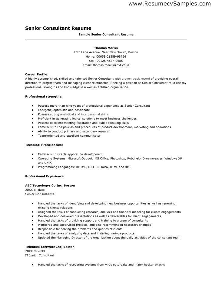 Resume Samples Senior Consultant Resume