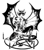 Démon pentagrammával / vektoros pólóminta / RockPont