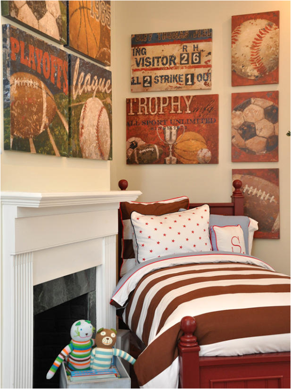 Vintage Sports Themed Boys Room