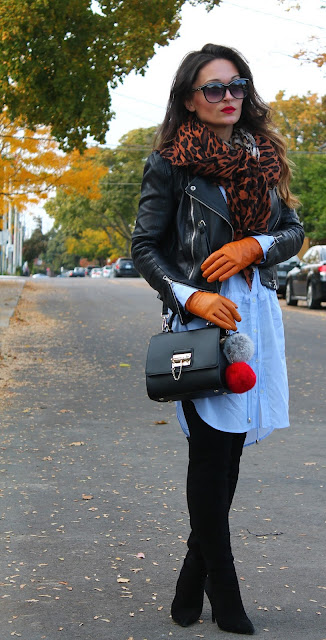 oversized dress, oversized style, fall layering, how to wear leather jacket in cold weather, over the knee boots, how to style shirtdress, structured handbag, how to style over the knee boots, leopard print scarf, top fashion blogger, toronto blogger, fall style