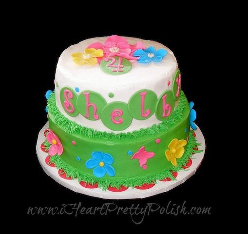 Butterflies flowers birthday cake