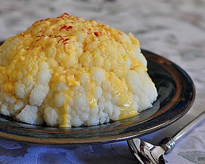 Whole Cauliflower with Cheese Sauce