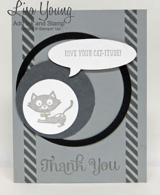 Stampin' Up! You Little Furball stamp set. Thank you card for cat lovers. Handmade by Lisa Young, Add Ink and Stamp