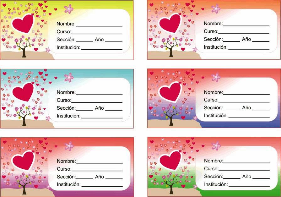 Etiquetas para cuadernos etqueta de amor con corazon - Pegatinas para la pared ...