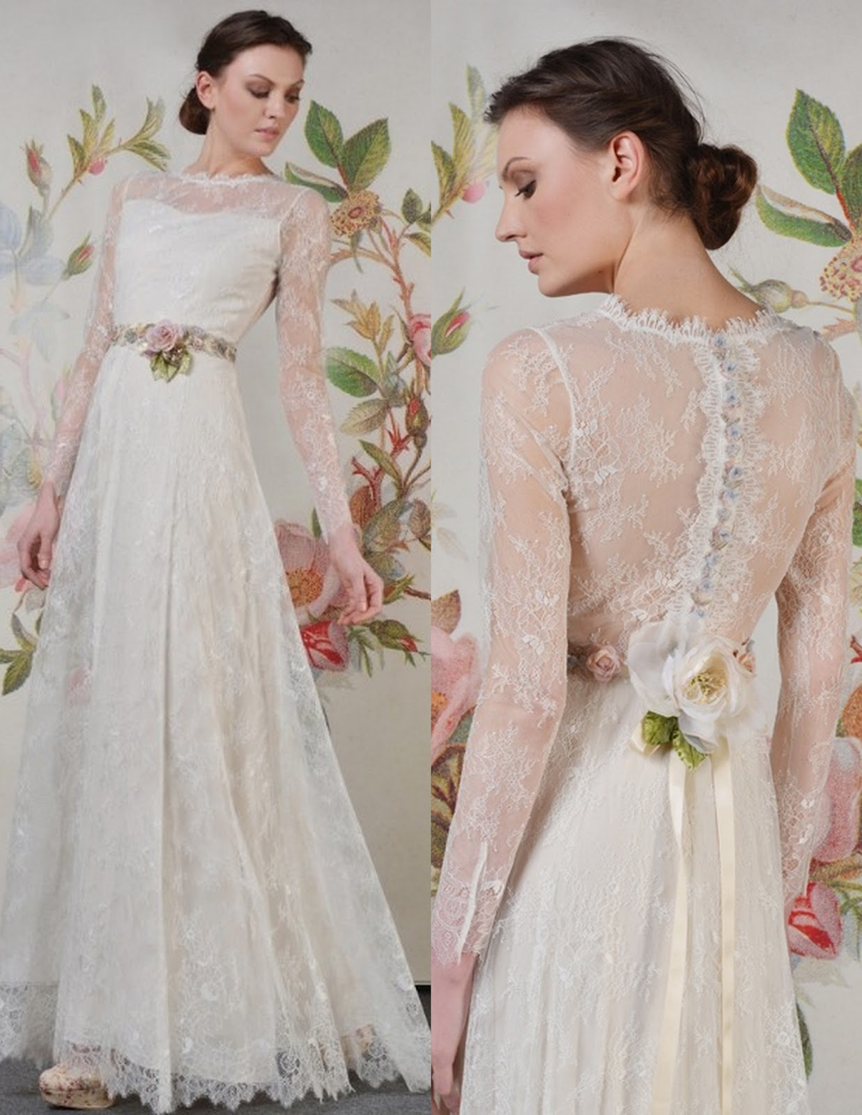 Lace Wedding Dresses With f The Shoulder Sleeves