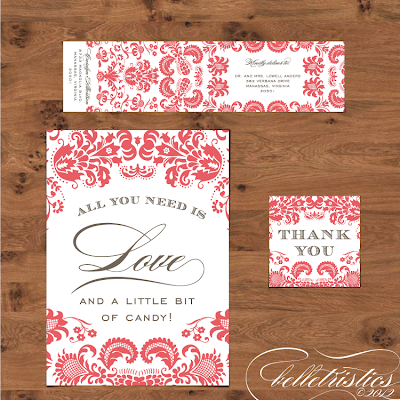 damask diy printable wedding sign favor tag design