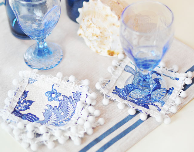 Cute DIY Pom Pom Cocktail Napkins or Coasters | ...love Maegan