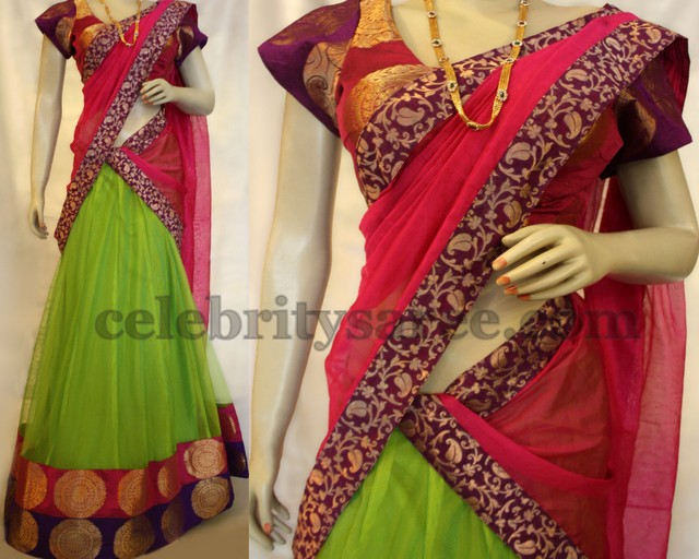 Pink and Green Net Half Saree
