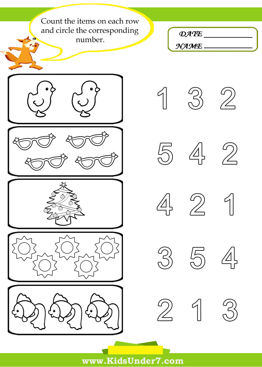 worksheet Preschool Numbers Worksheets kids under 7 preschool counting printables printables