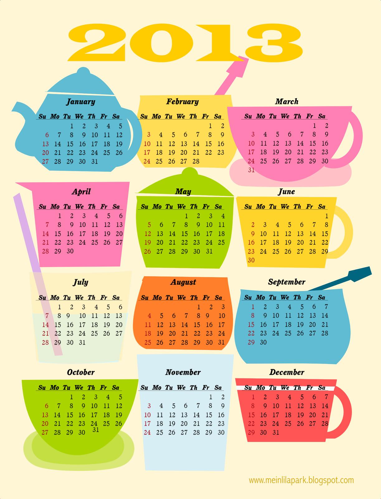 coffee break free printable 2013 calendar ausdruckbarer kalender 2013 meinlilapark. Black Bedroom Furniture Sets. Home Design Ideas