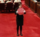 Brigette DePape in the House of Commons 2011.