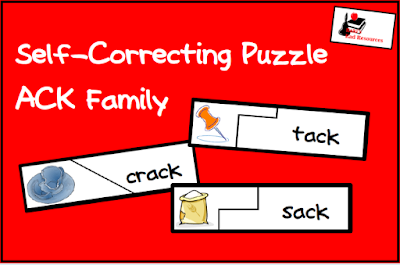 Free ack word family self correcting puzzle - perfect for kindergarten and first grade literacy centers. Download from Raki's Rad Resources.