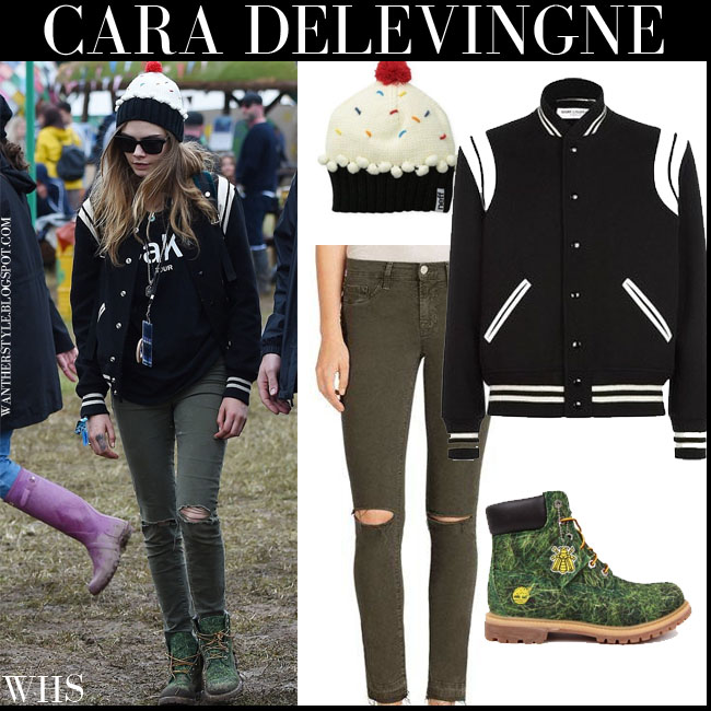 Cara Delevingne in black bomber Saint Laurent Teddy jacket with khaki J Brand skinny jeans and green ankle boots Timberland Bee Line what she wore june 28