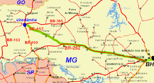 Mapa do trecho Belo Horizonte - Uberlândia