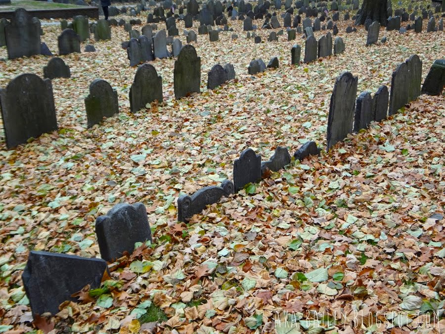 Tombstones in Granary Burying Ground, Boston, Massachusetts