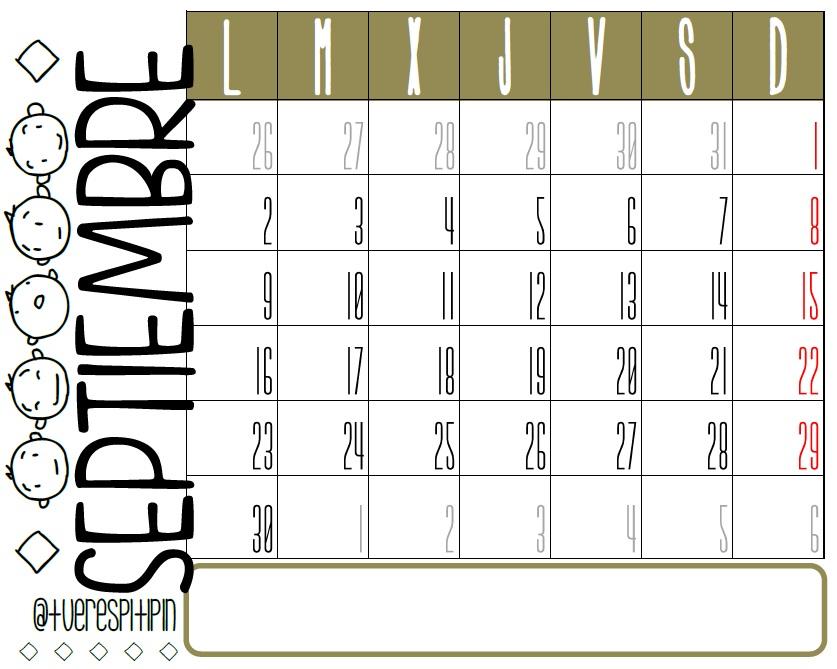 Calendario septiembre 2013  listo para imprimir Calendario Septiembre 2013