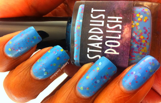 Lacquer Lockdown - Stardust Polish, matte glitter nail polish, matte glitter, blue crelly polish, sky blue polish, glitter nail polish, glitter sandwhich, sky blue nails, blue nails, indie polish