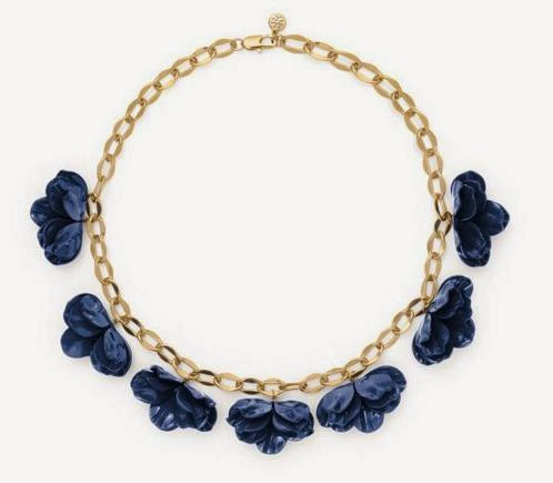Blue flower necklace on a gold chain