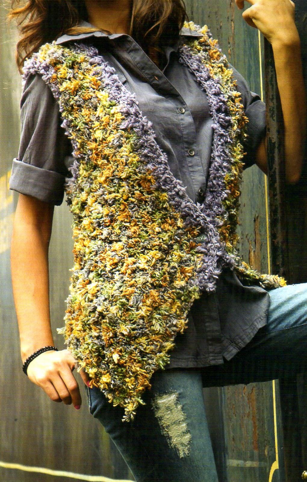 tejidos artesanales en crochet: original chaleco trendy tejido en ...