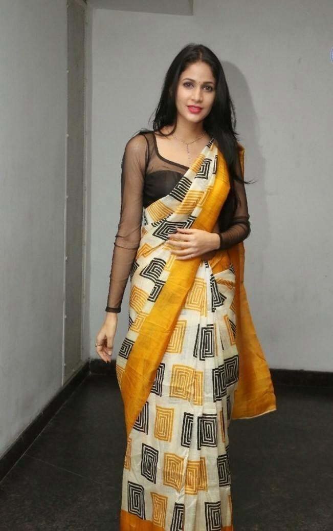 Actress Lavanya Tripathi in Printed Silk Saree
