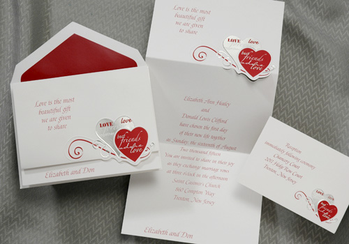 the purple mermaid  claret red and white hearts best friends wedding invitations
