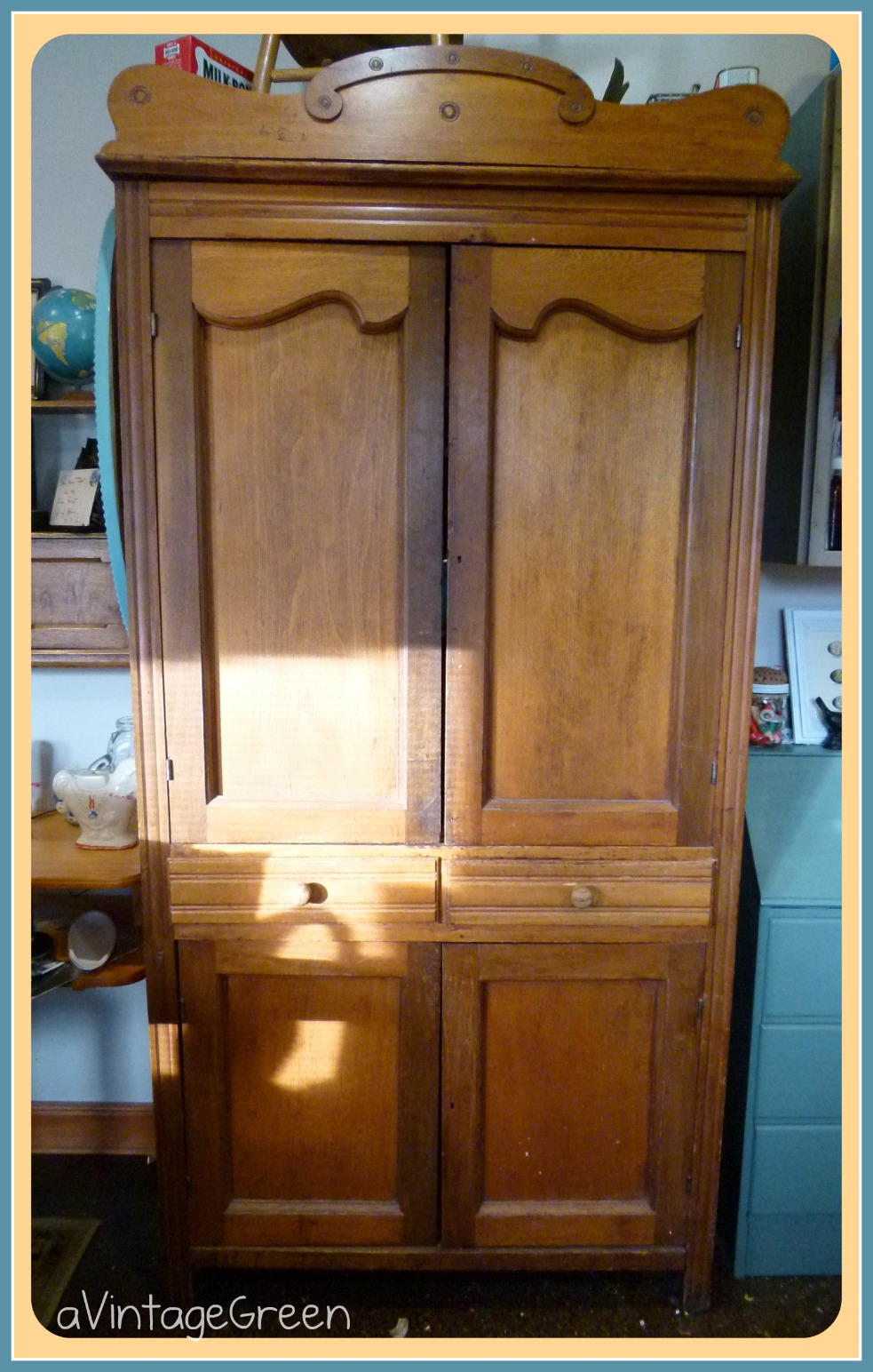 ... original hardware (great hinges and hooks inside to close doors, has a  pediment. Was found covered in red barn paint (Pie Safe picture also a  recap). - A Vintage Green: Antique 140 Year Old Pie Safe Part 2