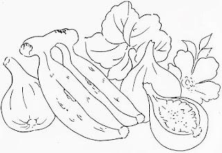 desenho banana com figos para pintar