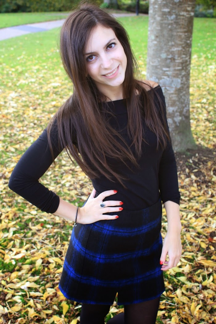 Blue Tartan Skirt from New Look http://nevenakrstic.blogspot.co.uk/2014/10/the-blue-tartan-skirt.html