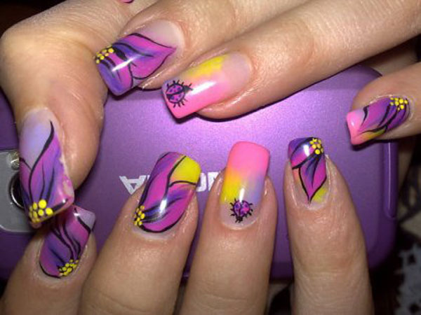 Colorful Flowery Nail Art