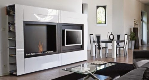 fireplace and TV stand model and decor
