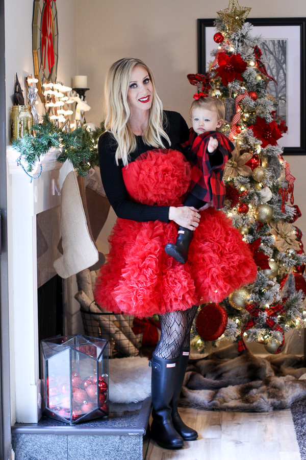 parlor girl christmas red dress black tights black hunter boots