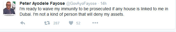 Alleged House In Dubia: Fayose Spits Fire On Twitter (Screenshots)