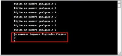 Exemplo de utilização do operador módulo
