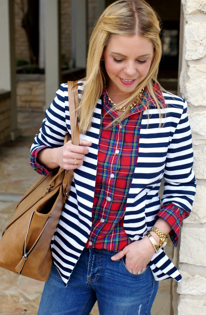 navy stripe blazer red plaid top