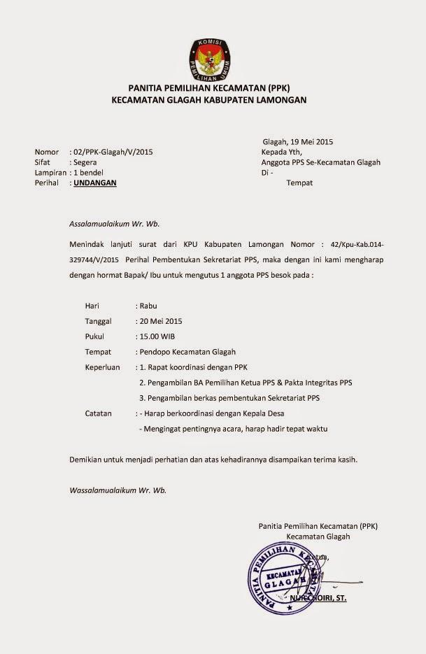 PANITIA PEMILIHAN KECAMATAN (PPK) GLAGAH: Surat Undangan ...