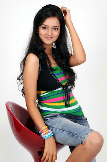 Shanvi in Cute Denim Short and tight Green Tank Top Lovely Pics